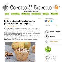 Petits muffins poires noix ( base de gâteau au yaourt tout végétal...)