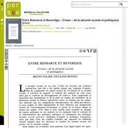 Entre Bismarck et Beveridge « Crises » de la sécunté sociale et politique(s) - persee.fr