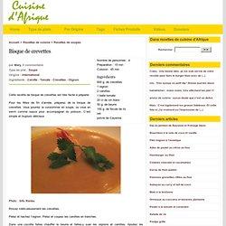 Bisque de crevettes,Recettes de cuisine d'Afrique