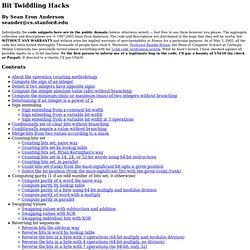 Bit Twiddling Hacks