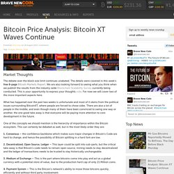 Bitcoin Price Analysis: Bitcoin XT Waves Continue