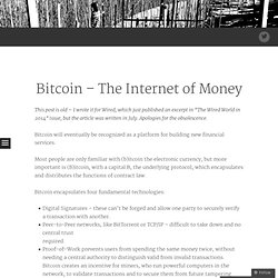 Bitcoin – The Internet of Money