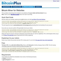 Bitcoin Miner for Websites - Bitcoin Plus