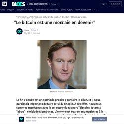 """""""Le bitcoin est une monnaie en devenir"""""""