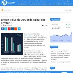 Bitcoin : plus de 90% de la valeur des cryptos ?