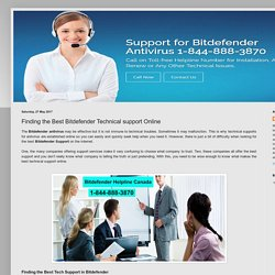 Bitdefender Support Canada Number 1-844-888-3870: Finding the Best Bitdefender Technical support Online