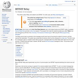 Bitnet Relay - Wikipedia, the free encyclopedia - Profile