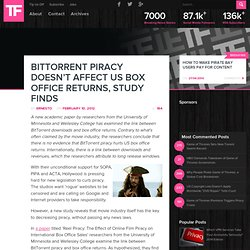 BitTorrent Piracy Doesn't Effect US Box Office Returns, Study Finds