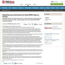 BizAgi Receives Gold Award for Best BPM Project in Europe