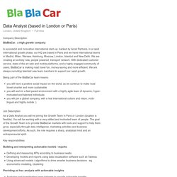 BlaBlaCar Data Analyst (based in London or Paris)