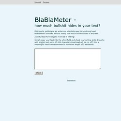 BlaBlaMeter - Bullshit detection tool - StumbleUpon