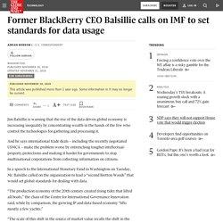 Former BlackBerry CEO Balsillie calls on IMF to set standards for data usage