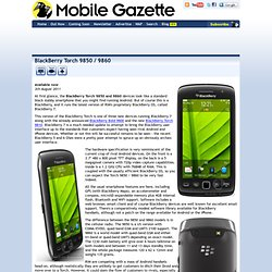 BlackBerry Torch 9850 / 9860 - Mobile Gazette - Mobile Phone News