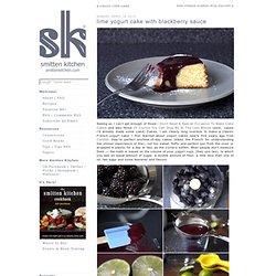 lime yogurt cake with blackberry sauce