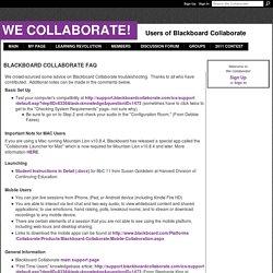 Blackboard Collaborate FAQ - We Collaborate!