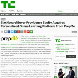 Blackboard Buyer Providence Equity Acquires Personalized Online Learning Platform From PrepMe