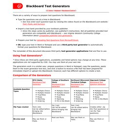 Blackboard Test Generators