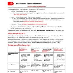 Blackboard Test Generators