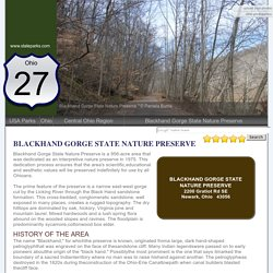 Blackhand Gorge State Nature Preserve, an Ohio npreserve located near Granville, Heath and Newark