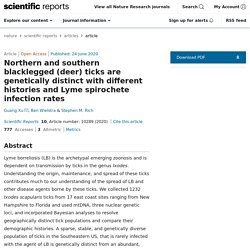 SCIENTIFIC REPORTS 24/06/20 Northern and southern blacklegged (deer) ticks are genetically distinct with different histories and Lyme spirochete infection rates