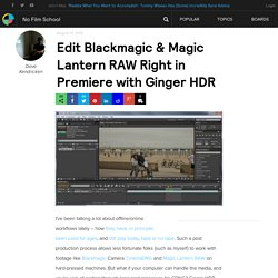 Edit Blackmagic & Magic Lantern RAW Right in Premiere with Ginger HDR