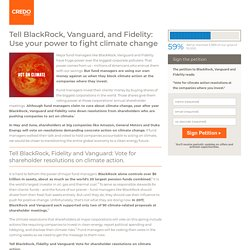Tell BlackRock, Vanguard, and Fidelity: Use your power to fight climate change