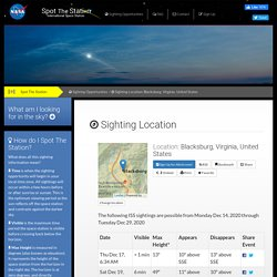 ISS Sighting Locations - Blacksburg, Virginia, United States