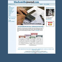 Blacksmith's Journal - blacksmithing help and publications