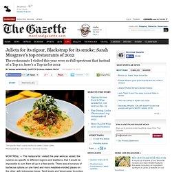 Julieta for its rigour, Blackstrap for its smoke: Sarah Musgrave's top restaurants of 2012