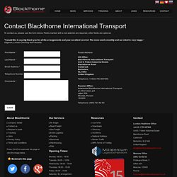 Contact Blackthorne International Transport