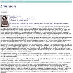 Article MAINTENIR LA MIXITE DANS LES ECOLES