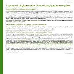 Argument écologique et blanchiment écologique des entreprises.