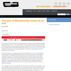 The year of Blankenship comes to an end