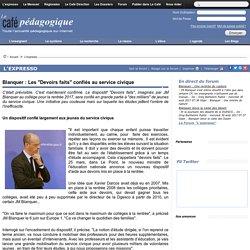 """Blanquer : Les """"Devoirs faits"""" confiés au service civique"""