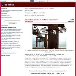 Blasphème et droit local : contribution - Ufal Metz