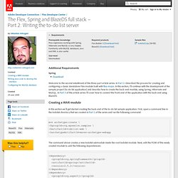 Adobe - Developer Center : The Flex, Spring and BlazeDS full sta