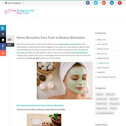 Home Remedies Face Pack to Reduce Blemishes