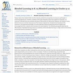 Blended Learning in K-12/Blended Learning in Grades 9-12