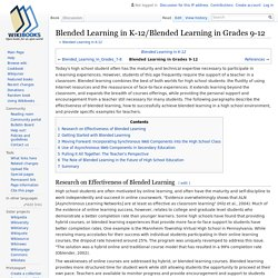 Blended Learning in K-12/Blended Learning in Grades 9-12
