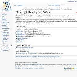 Blender 3D: Blending Into Python