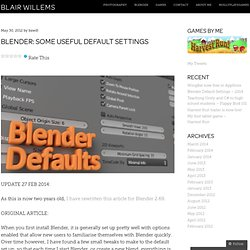 Blender: some useful default settings « blair willems