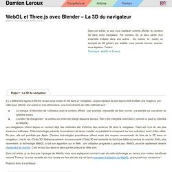 WebGL et Three.js avec Blender – La 3D du navigateur