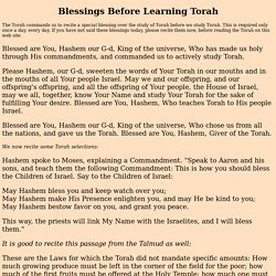 The Blessings Before Learning Torah