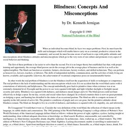Blindness: Concepts And Misconceptions