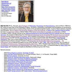 Ned Block, Department of Philosophy