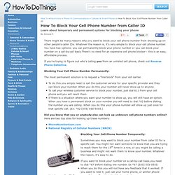 How To Block Your Cell Phone Number from Caller ID