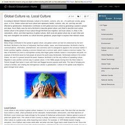 Block3-Globalization - Global Culture vs. Local Culture
