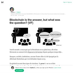 Blockchain is the answer, but what was the question? (VF)