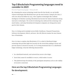 Top 5 Blockchain Programming languages need to consider in 2021 – Telegraph