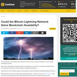 Could the Bitcoin Lightning Network Solve Blockchain Scalability?